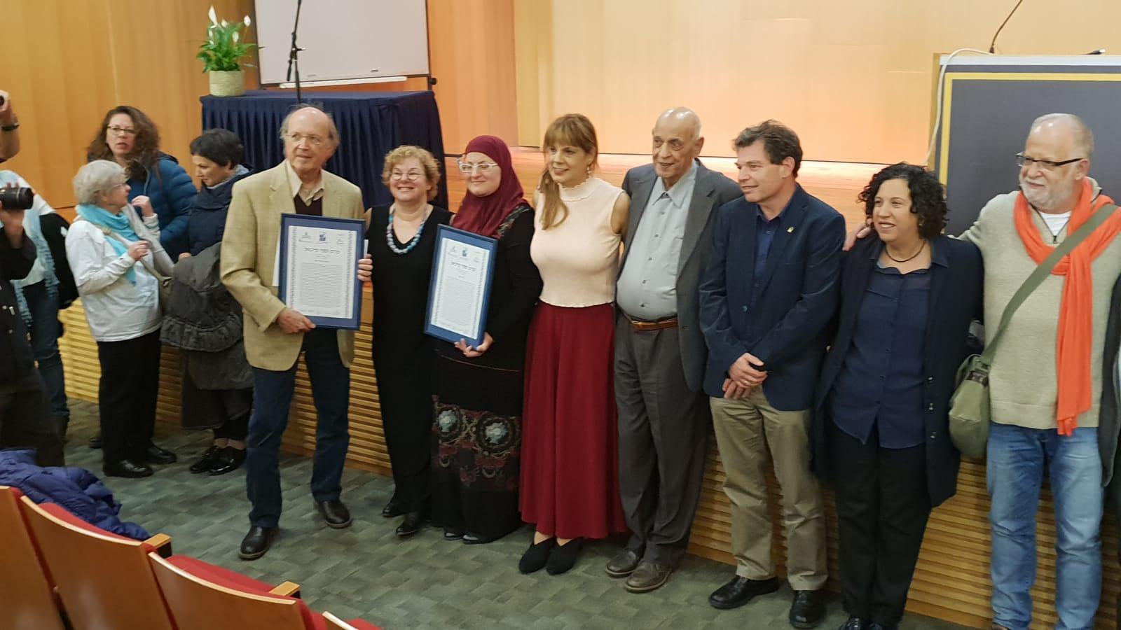 גדיר האני עם הסופר סמי מיכאל ומקבלי הפרס לשנת 2018