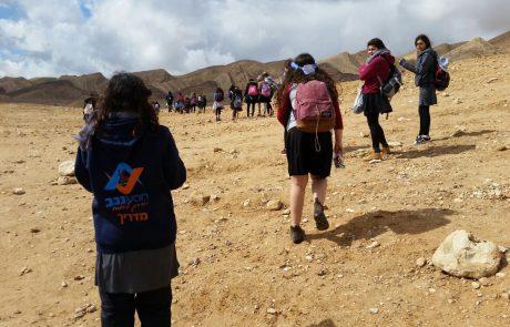 """""""מסע נגב"""" של מאות תלמידים, סטודנטים ובני נוער מכל הארץ"""