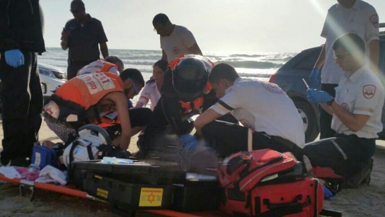 טביעה בחוף סירונית בנתניה - שלומי מרצ'ביאק תיעוד מבצעי מדא