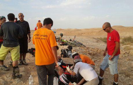 סוכות- חילוץ רוכב אופניים שנפגע בראשו בנחל חלמיש