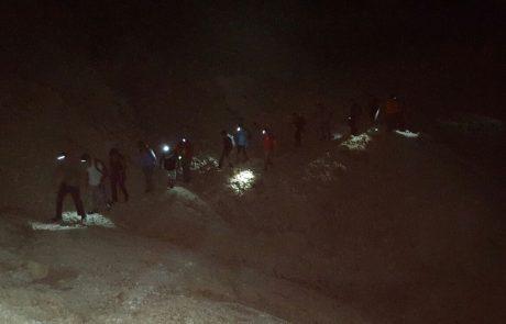 חילוץ קבוצת מטיילים בחשכה מנחל אשלים