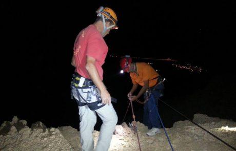 חילוץ לילה בעזרת חבלים מנחל ערוגות