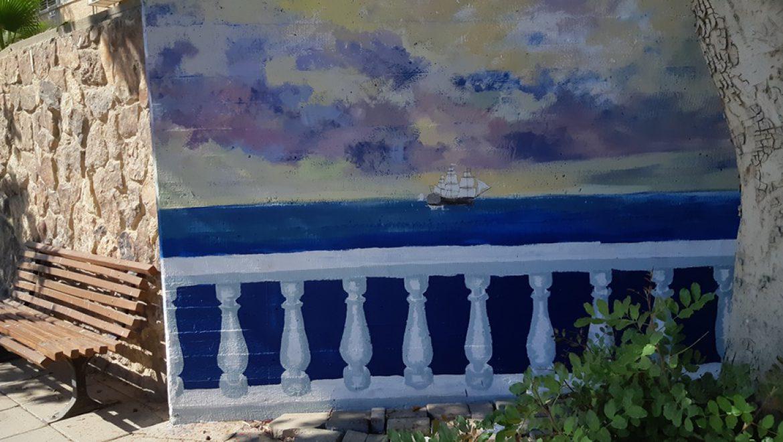 ציורי רחוב של ים ואוניות בעיר מדבר צילום-ענת רסקין