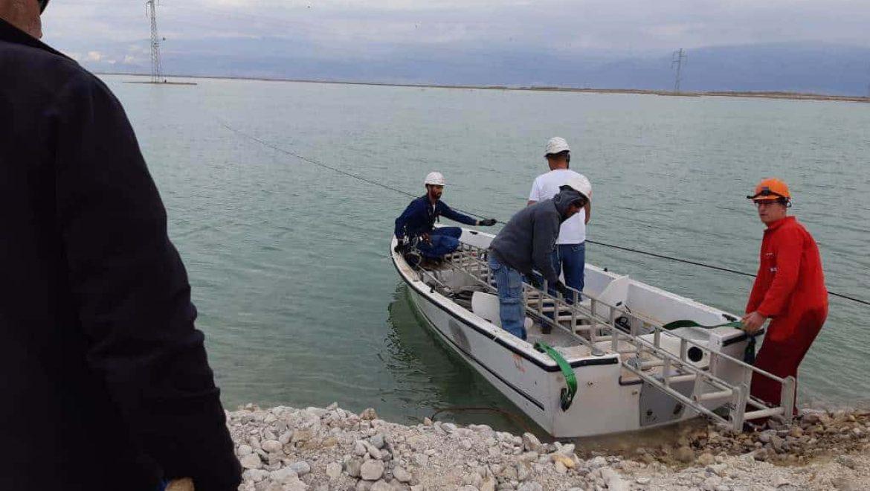 עובדי חברת החשמל בעבודה בים המלח צילום-חברת החשמל